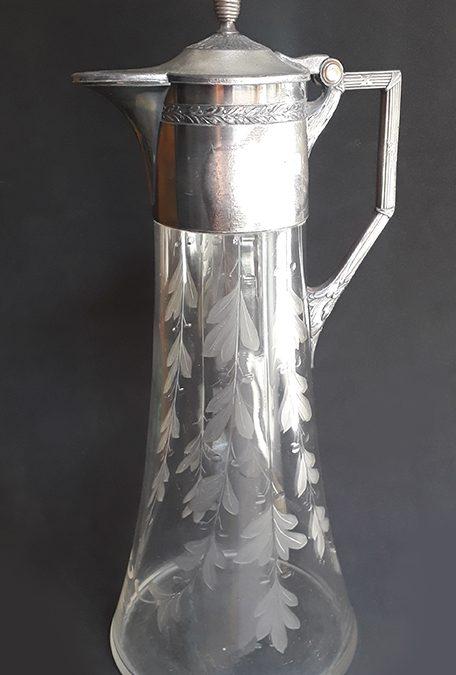 CR 11 – Jarra antiga cristal alemão WMF lapidada com bocal em metal