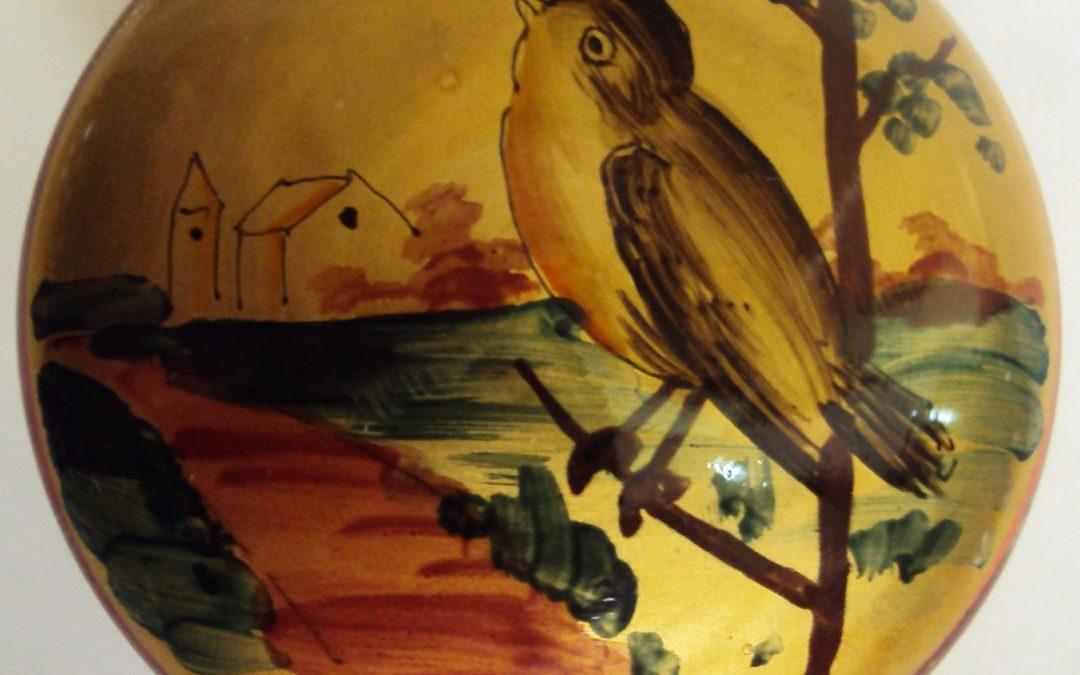 CR 249 – Porta jóias de vidro decorado com pintura de pássaro