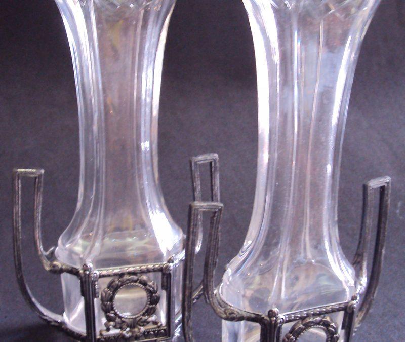 CR 301 – Par De Vasinhos Wmf 1910 Banho De Prata E Cristal