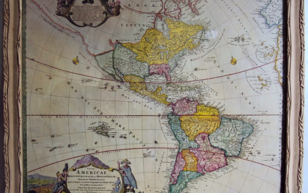 DI 109 – Gravura decorativa de mapa antigo da América por Johann Baptist Homann