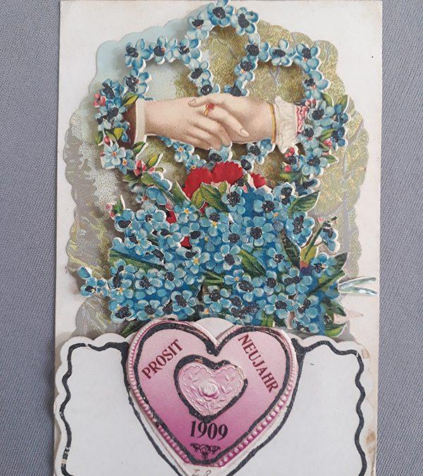 DI 79 – Cartão postal antigo de 1909 com efeito 3D movimento de flor vermelha