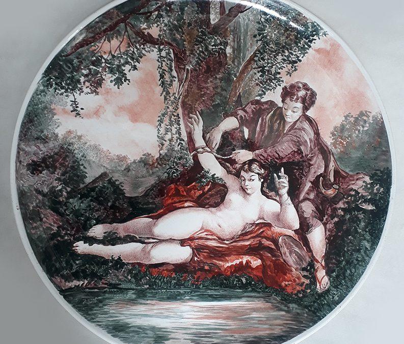 LO 151 – Prato grande e antigo italiano com cena galante de François Boucher