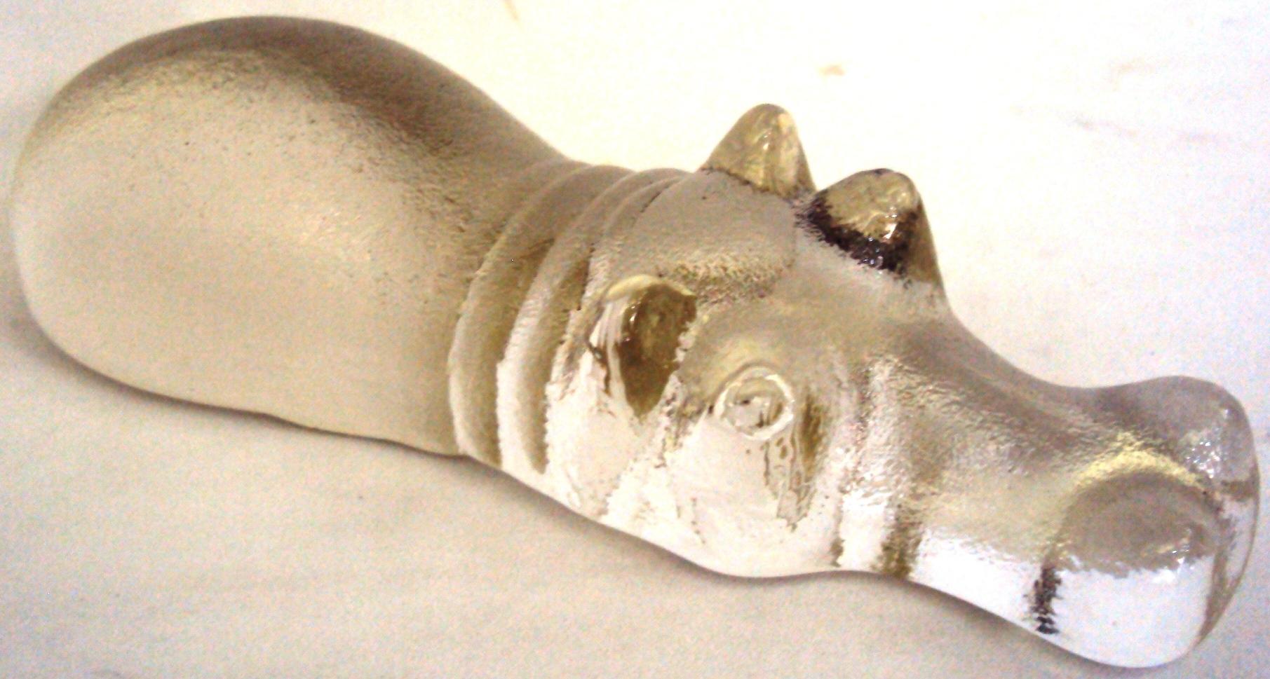CR 248 – Peso De Papel ou enfeite de Hipopótamo De Vidro Grande