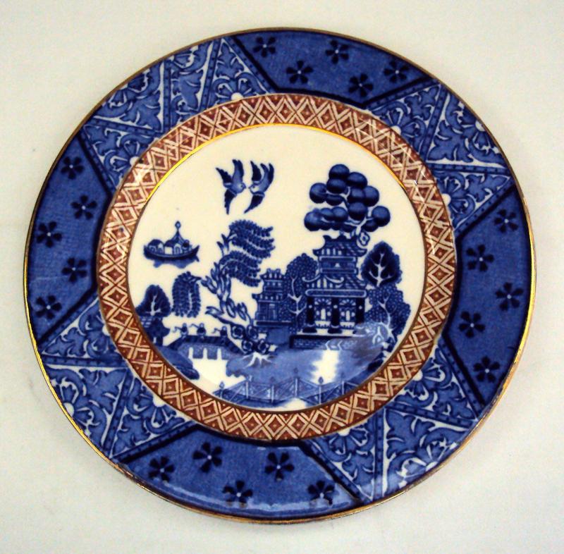 LO 111 – Prato De Pão Willow Azul Pombinho E Dourado