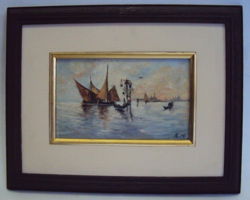 DI 141 – Quadro Óleo Sobre Tela Barcos E Oratório Em Veneza