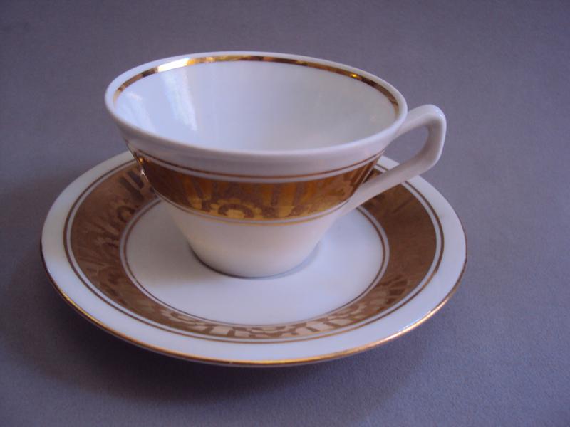 LO 254 – Xícara De Cafezinho Polonesa Com Borda Dourada