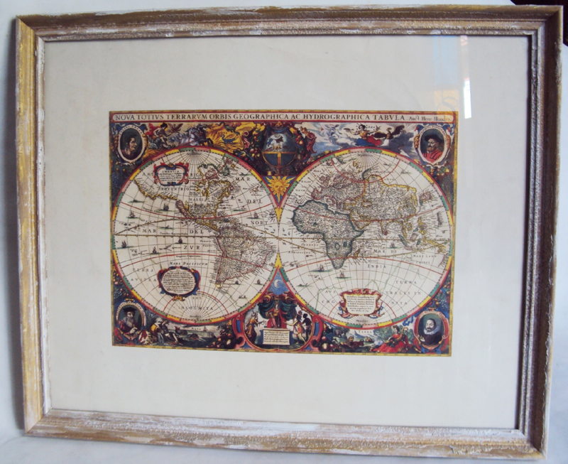 "DI 199 – Mapa-múndi decorativo ""Nova Totius Terrarum Orbis Tabula"" por Hendrik Hondius"