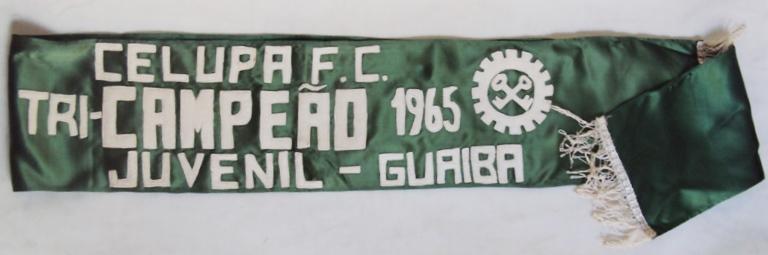 DI 275 – Faixa antiga de 1965 CELUPA Guaíba Futebol Clube em tecido e feltro