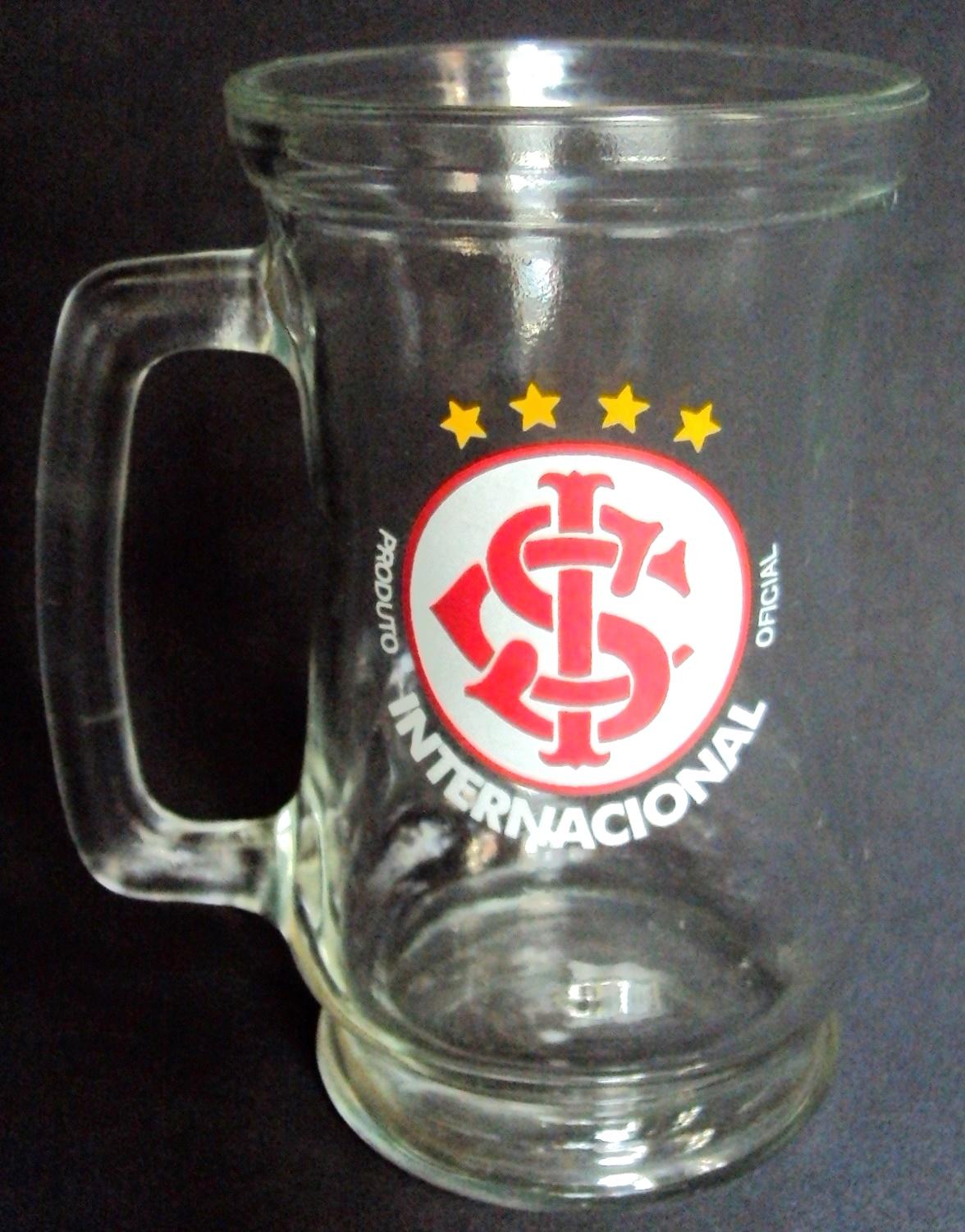 CR 291 – Caneca em vidro anos 90 de futebol Sport Club Internacional de Porto Alegre