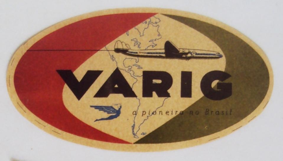 DI 346 – Etiqueta De Viagem Para Malas Varig Original oval colorida