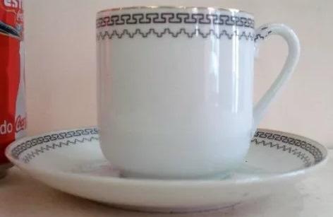 LO 372 – Xícara De Cafezinho Japonesa Borda Com Detalhes Geométricos