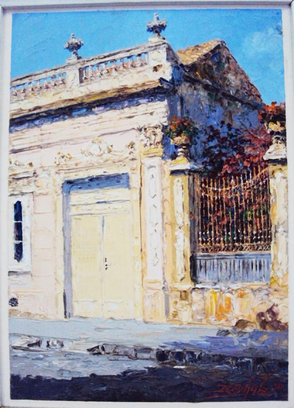 DI 291 – Quadro óleo sobre eucatex casa antiga e portão de Ricardo Werner Schulz – 1981
