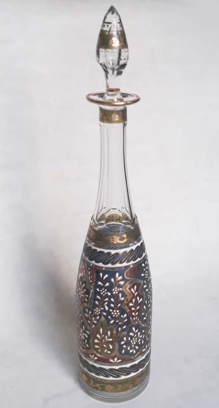 CR 146 – Garrafa antiga em cristal com pintura à mão em esmalte colorido e dourado